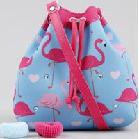 Bolsa Infantil Estampada De Flamingos + Elásticos De Cabelo Azul Claro - Único