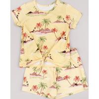Conjunto Infantil De Blusa Estampada De Ilhas Manga Curta + Short Amarelo