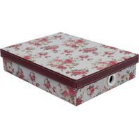 Caixa Organizadora Flower- Rosa Escuro & Bordã´- 7X34Boxmania
