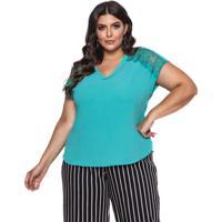 Blusa Almaria Plus Size Pianeta Renda Verde