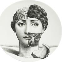 Fornasetti Prato De Cerâmica Com Estampa - Preto