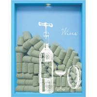Quadro Porta Rolhas De Vinho Wine Garrafa 32X42X4Cm Azul