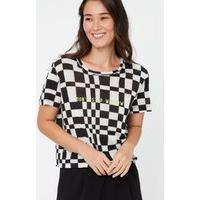Blusa Silk Estampa Chess Mini Preto - Pp