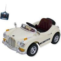 Carro Infantil Eletrico Retro 6V Com Controle Remoto - Unissex-Bege