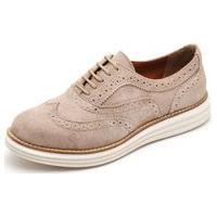 Sapato Oxford Casual Conforto Camurça Areia