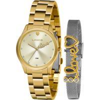 Relógio Lince Feminino Dourado + Bracelete Lrg4668L Kz95C1Kx
