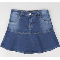 Saia Jeans Infantil Com Babado E Bolsos Azul Escuro
