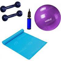 Kit Pilates Com Bola 55 Cm + Mini Bomba + Colchonete + 2 Halteres 2Kg Liveup - Unissex