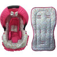 Conjunto Capa Para Bebê Conforto Com Acolchoado Extra E Capa De Carrinho Floral Alan Pierre Baby 0 A 13 Kg Azul Com Rosa