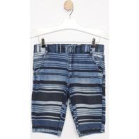 Bermuda Jeans Listrada Com Tag- Azul Marinho & Azul-Look Jeans