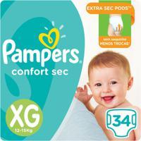 Fralda Pampers Confort Sec 34 Unidades - Unissex-Incolor