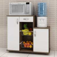 Armário De Cozinha Para Forno Com Fruteira 2 Portas 1 Gaveta Diva Chocolate/Branco New - Notavel