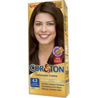 Coloração Creme Cor E Ton 4.3 Castanho Médio Dourado Niely