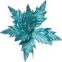 Flor Artificial Decoração Natal C/ Glitter Verde