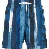 Ermenegildo Zegna Short De Natação Com Padronagem De Listras - Azul