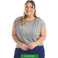 Blusa Plus Size Em Malha De Viscose Cinza