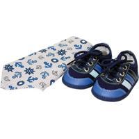 Kit Bebê Marinheiro Sapatinhos Baby Azul