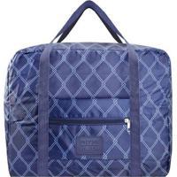 Bolsa De Viagem Dobrã¡Vel- Azul Escuro & Azul- 36,5X4Jacki Design