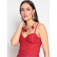 Blusa Cropped Lisa- Vermelha- Evaeva