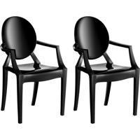 Conjunto Com 2 Cadeiras De Plástico Wind Preto
