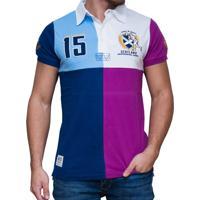 581cbce4cd Camisa Polo Kevingston Squares Rugby Manga Curta Listrada Azul