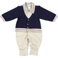 Macacão Infantil Para Bebê Menino - Azul Marinho/Cinza