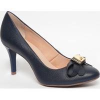 Sapato Em Couro Com Laço- Azul Marinho- Salto: 8Cmjorge Bischoff