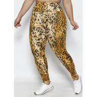 Legging Animal- Bege Escuro & Preta- Physical Fitnesphysical Fitness