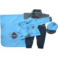 Saída De Maternidade Letícia Enxovais Baby Charm Pietro Azul
