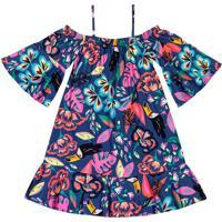 Vestido Floral- Azul Escuro & Rosa Claro- Marisolmarisol