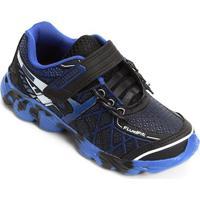 Tênis Infantil No Stress Running Velcro - Masculino-Preto+Azul