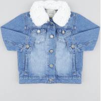 Jaqueta Jeans Infantil Com Pelo Azul Médio
