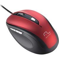 Mouse Comfort Usb 6 Botões Vermelho E Preto Mo243 Multilaser
