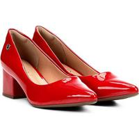 Scarpin Via Uno Salto Grosso Bico Fino - Feminino-Vermelho