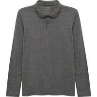 Camisa Polo Manga Longa Super Feminina Cinza