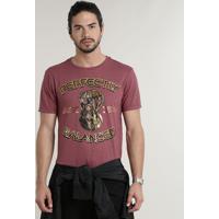 Camiseta Masculina Manopla Do Inifinito Os Vingadores Manga Curta Gola Careca Vinho