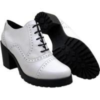Sapato Oxford Q&A Em Couro Feminino - Feminino-Branco