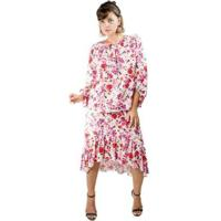 Saia Viscose Midi Mullet Babado Cós Frontal Mini Roses - Feminino-Rosa