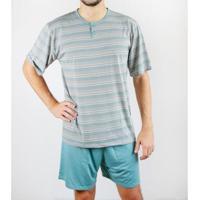 Pijama Gislal Shorts Manga Curta Verão Masculino - Masculino-Cinza+Verde