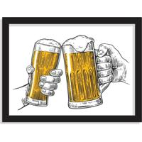Quadro Decorativo Ein Prosit Bier Brinde Cerveja Preto - Grande