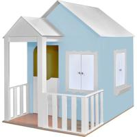 Casinha De Brinquedo Criança Feliz Com Cercado Azul Bebê/Branco