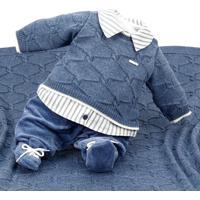 Saída De Maternidade Beth Bebê Tricô Plush Joaquim Azul