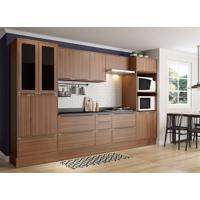 Conjunto Cozinha Nogueira Com Rodapé 11 Módulos Marrom Com Tampo De Vidro Preto E Rodapé 14 Portas - Multimóveis
