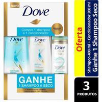 Kit Dove Hidratação Intensa Shampoo 400Ml + Condicionador 200Ml + Shampoo A Seco Day 2 75Ml