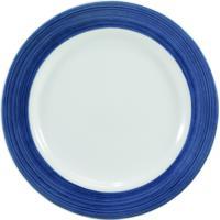 Prato Raso Porcelana Schmidt - Dec. Cilíndrica Pintura À Mão Azul