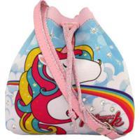 Bolsa Infantil Princesa Pink Mochilinha Estampa Unicórnio Nuvem Mágica - Feminino-Rosa