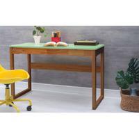Escrivaninha Para Quarto Olga 121X51,3X75 Cm - Acabamento Verniz Capuccino E Tampo Verde Sálvia