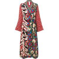 Anjuna Multicoloured Patch Coat - Vermelho