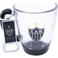 Kit Caneca De Vidro 370Ml+Abridor De Garrafas Atlético Mineiro - Unissex