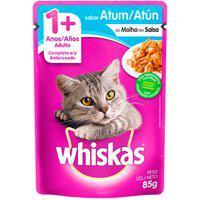 Ração Para Gatos Whiskas Adulto 1+ Anos Sachê Sabor Atum Ao Molho 85G